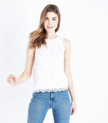 Off White Floral Lace Sleeveless Top