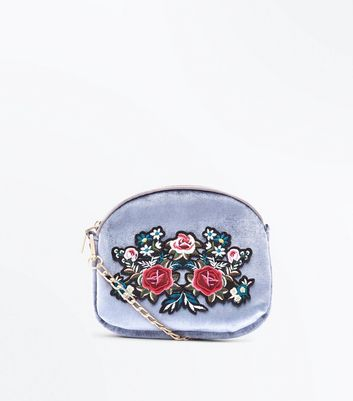 Grey Velvet Floral Chain Strap Shoulder Bag