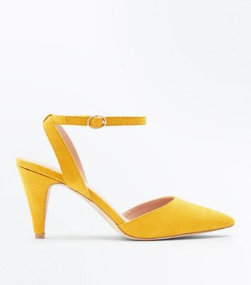 Mustard Suedette Ankle Strap Pointed Cone Heels