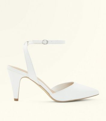 White Pointed Cone Heel Court Shoes