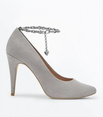 Grey Suedette Chain Ankle Strap Pointed Courts