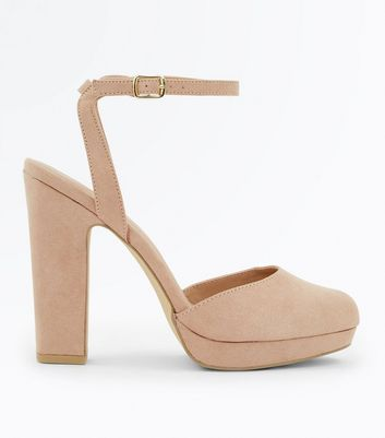 Nude Suedette Two Part Platform Courts