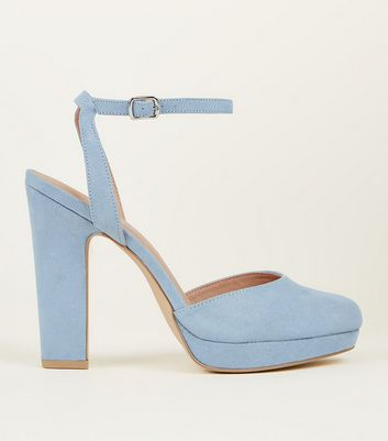 Pale Blue Suedette Two Part Platform Courts by New Look