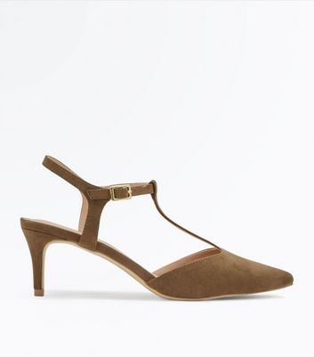 Khaki Suedette T-Bar Pointed Kitten Heels