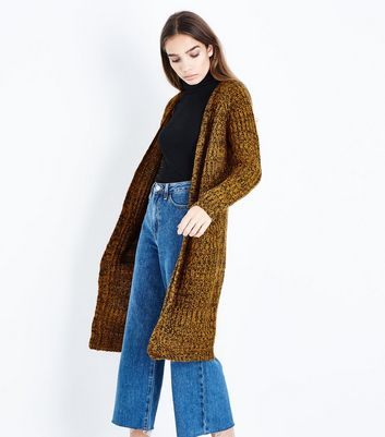 QED Yellow Marl Oversized Cardigan