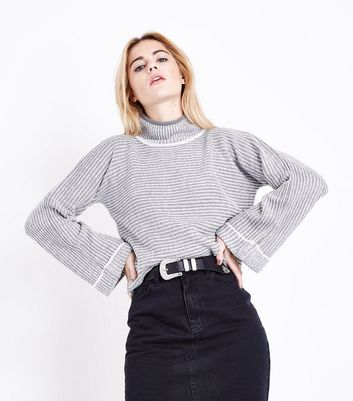 QED Grey Flared Sleeve Ribbed Jumper