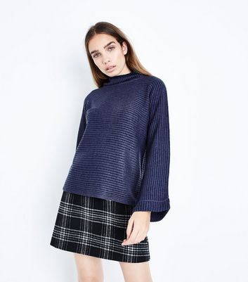 QED Navy Flared Sleeve Ribbed Jumper