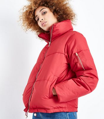 QED Red Funnel Neck Cropped Puffer Jacket