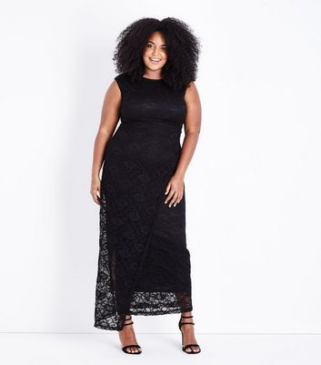 Mela Curves Black Lace Maxi Dress