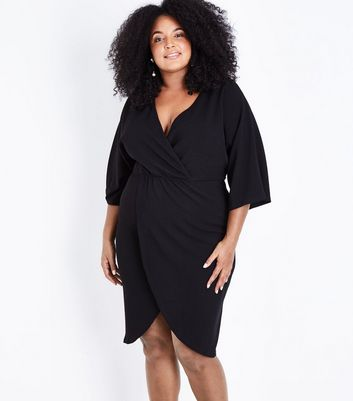 Mela Curves Black Wrap Front Kimono Sleeve Dress