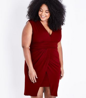 Mela Curves Burgundy Wrap Hem Mini Dress