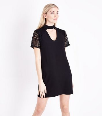 Black Lace Sleeve Choker Neck Tunic Dress