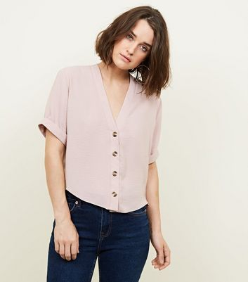 Pale Pink V Neck Boxy Shirt