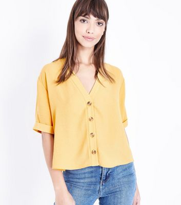 Mustard Yellow V Neck Shirt