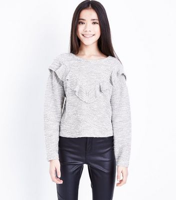 Teens Frill Trim Fine Knit Jumper