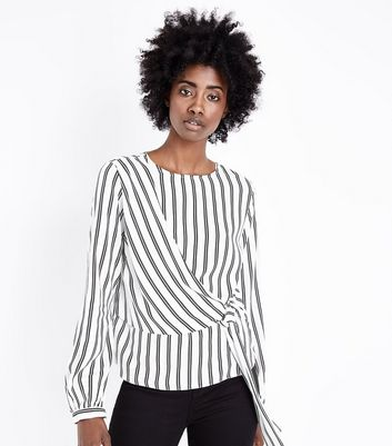 White Stripe Tie Waist Panelled Top