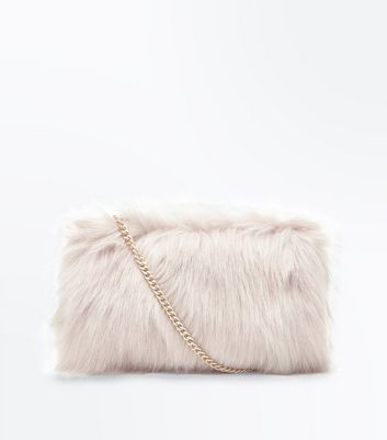 Pale Pink Faux Fur Chain Cross Body Bag