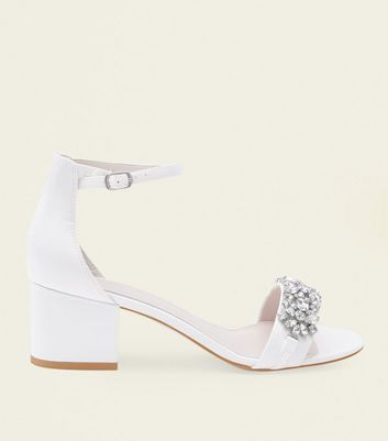 Off White Satin Embellished Wedding Sandals by New Look