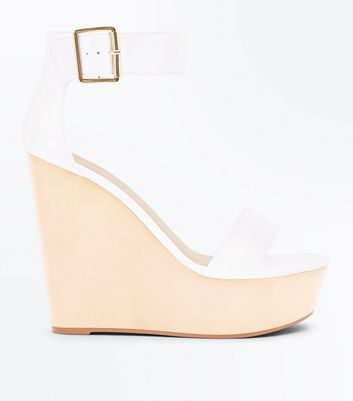 White Ankle Strap Extreme Platform Wedges by New Look