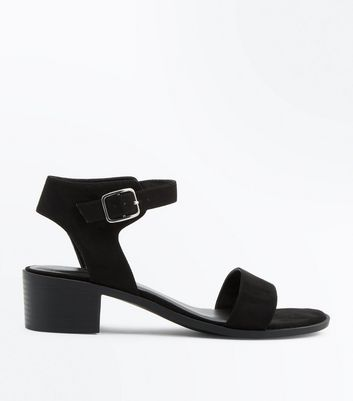 Wide Fit Black Suedette Low Block Heel Sandals