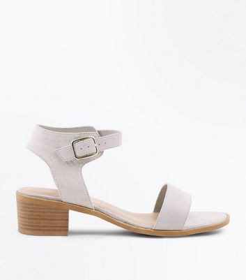Wide Fit Grey Suedette Low Block Heel Sandals