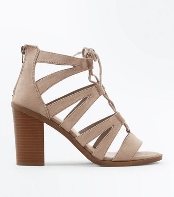 Wide Fit Grey Suedette Wood Heel Ghillie Sandals