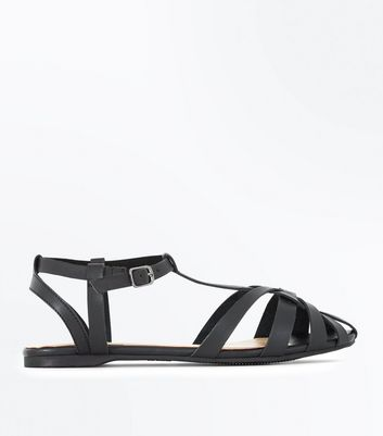 Black Caged Flat Sandals