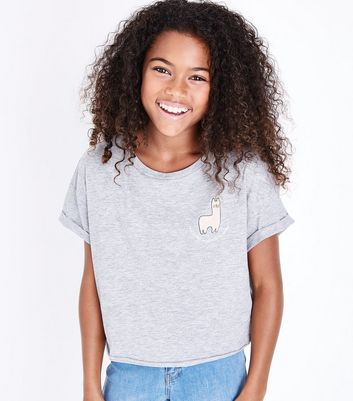 Teens Grey Llama Slogan Side Crop T-Shirt