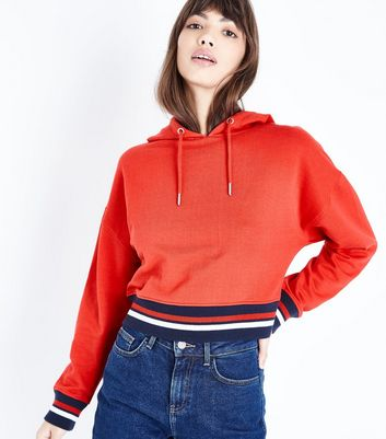 Red Tipped Cropped Hoodie