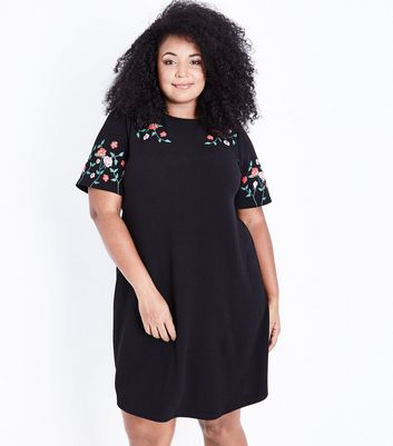 Curves Black Floral Puff Print Tunic Dress