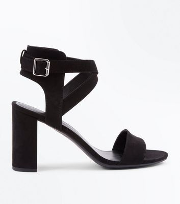 Black Suedette Ankle Cross Strap Block Heels