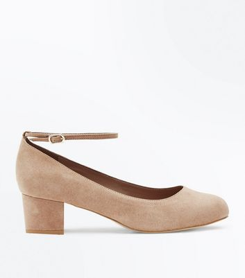 Extra Wide Fit Light Brown Suedette Ankle Strap Courts