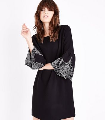 Black Embroidered Bell Sleeve Tunic Dress