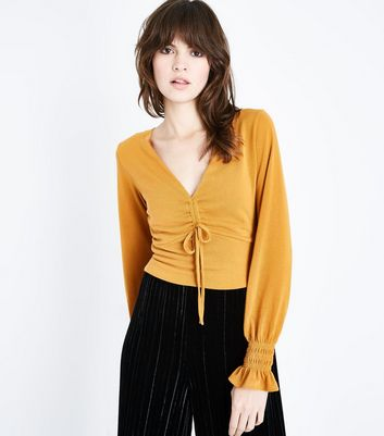 Mustard Yellow Ruched Front Crop Top