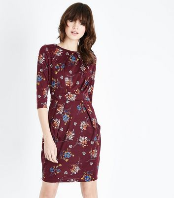 Red Floral Print Tie Back Tulip Dress