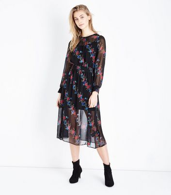 Black Diagonal Floral Chiffon Midi Dress