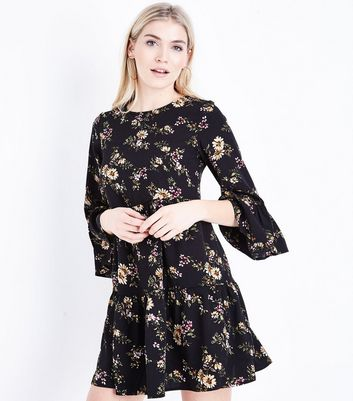 Black Floral Print Tiered Smock Dress
