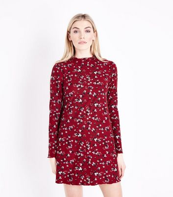 Red Floral Print Long Sleeve Dress