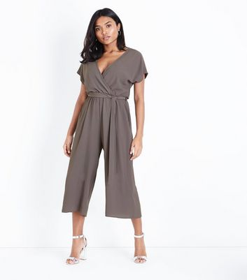 Petite Grey Wrap Front Belted Culotte Jumpsuit