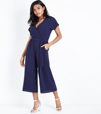 Petite Navy Wrap Front Belted Culotte Jumpsuit