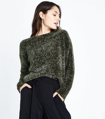 Khakifarbener Chenille-Pullover