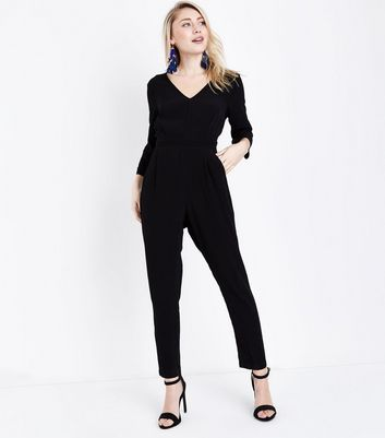 Petite Black V Neck Tapered Jumpsuit