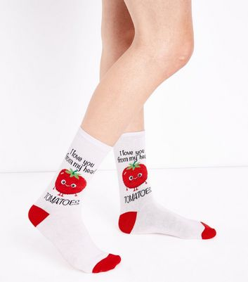 Chaussettes blanches Love You Tomatoes