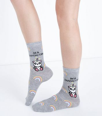 Grey Pandacorn Slogan Socks