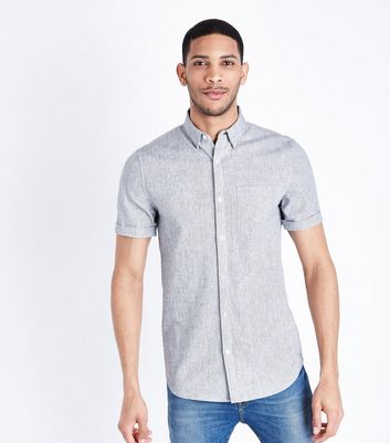 Light Grey Textured Muscle Fit Shirt