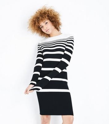 Black Ribbed Graduated Stripe Jumper Dress