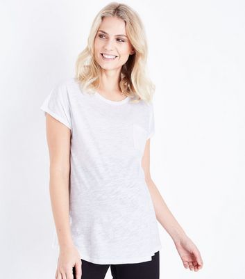Maternity White Organic Cotton Pocket T-Shirt