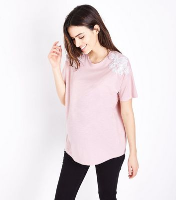 Maternity Pink Applique Shoulder T-Shirt