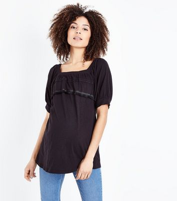 Maternity Black Square Neck Tassel Trim Top