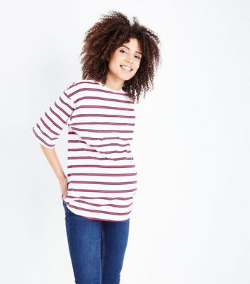 Maternity Red Stripe Boxy T-Shirt